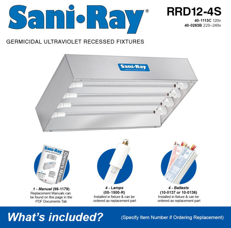 Atlantic UV SaniRay RRD12-4S Quad Lamp UV Air and Surface Sanitizer / Disinfection Unit