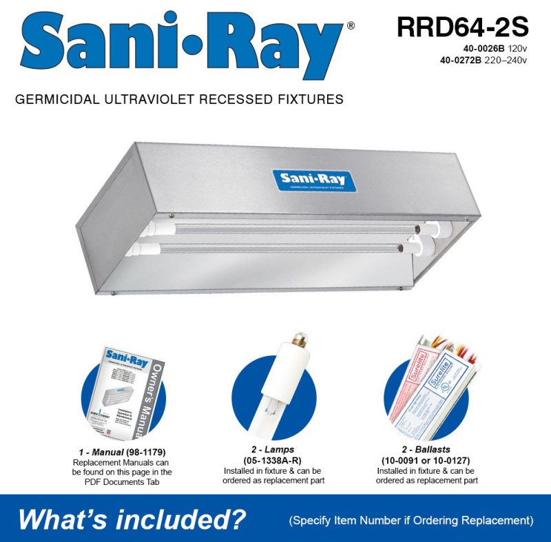 Atlantic UV RRD64-2S Sani Ray Ultraviolet Air and Surface Sanitizing System