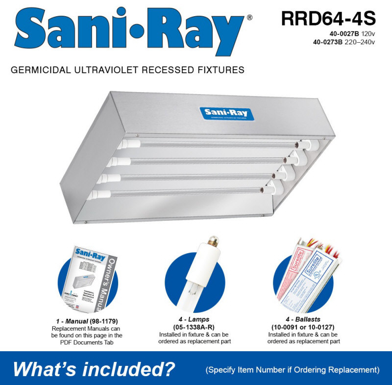 Atlantic UV SaniRay RRD64-4S Quad Lamp UV Air and Surface Sanitizer / Disinfection Unit