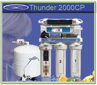Crystal Quest Thunder 2000CP RO water filtering system with Pressure Pump for low pressure water treatment