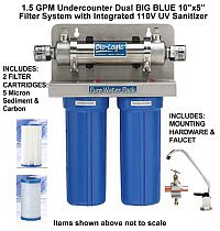 Bio-Logic Pure Water Pack 1.5 Undercounter water filter with UV Disinfection
