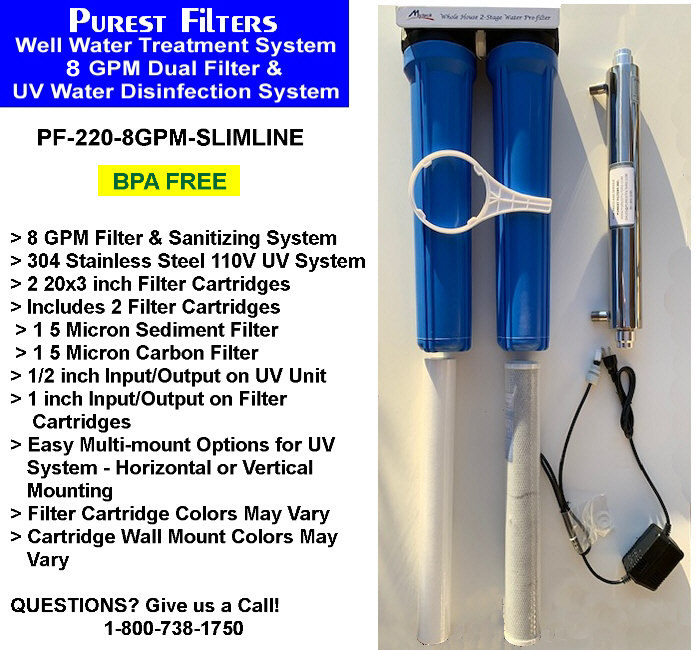 Purest Filters PF-220-8GPM Well Water Treatment, Filter & Sanitizing System